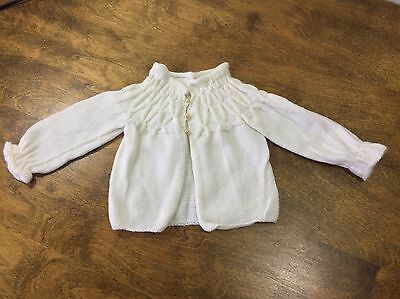 Vintage White Baby Girl handmade knitted Sweater