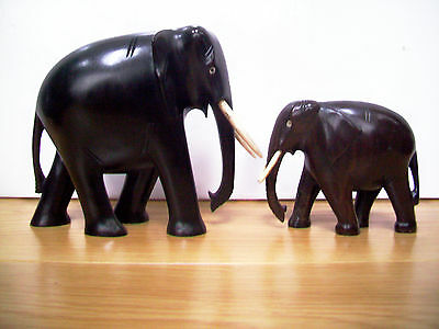 Antique Ebony Hand Carved Wooden Elephant Bull With Calf