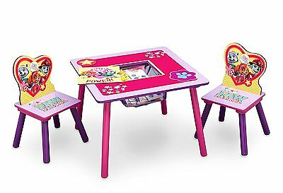 Delta Wooden Pink Paw Patrol Puppy Dogs Table Two Chairs and Toy Storage Set NEW