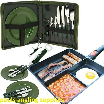 Multi Section Frying Pan & Cutlery Set 600  Carp Fishing Tackle for bivvy etc