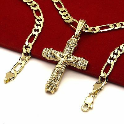 "Men's 14k Gold Plated High Fashion Cross ""012"" Pendant 5mm 24"" Inch Figaro chain"
