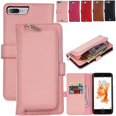 Real Multifunction Leather Magnetic Zipper Wallet Case Cover For iPhone 7 Plus