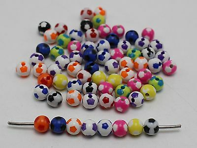200 Mixed Bubblegum Color Acrylic Soccer Ball Football Round Beads 8mm