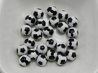 200 Black & White Color Acrylic Soccer Ball Football Round Beads 8mm