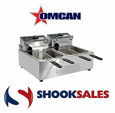 Omcan 34868 Commercial Counter Top Double Electric 12 Lb Fryer CE-CN-0012 120 V