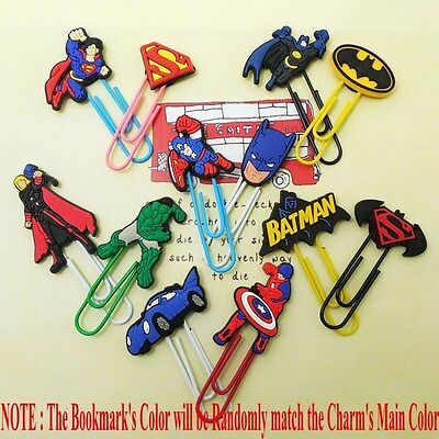 12pcs/set The Avenger Hero Cartoon Bookmarks PVC Paper Marks/Clips Children Gift
