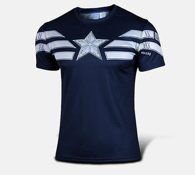 Captain America 3 Cool men costume marvel T-Shirts  Cosplay Jersey SIZE S-4XL