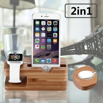 For Apple Watch For iPhone Bamboo Charging Dock Station Charger Holder Stand
