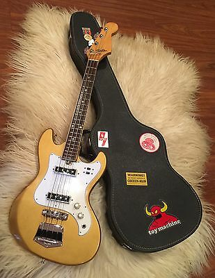 1968 Telester Electric Bass Guitar Gold With Original Case