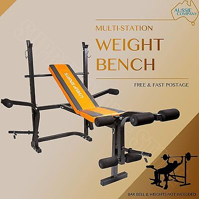 Multi-Station Weights Bench Home Gym Fitness Curl Press Incline ABS Exercise