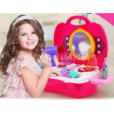 Beauty Princess Dressing Makeup DIY Kit Role Play Pretend Toy Set Gift-Pink