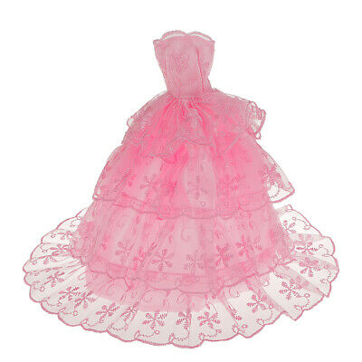 Pink Fashion Handmade Princess Dress Wedding Clothes Gown for Barbie Doll