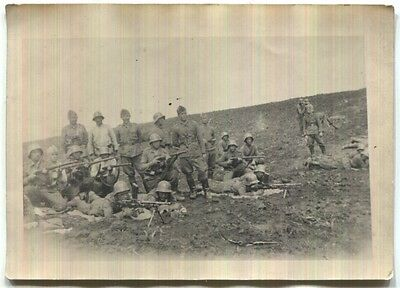 WW2 Bulgarian army frontline photo of soldiers with helmets, MGs and rifles