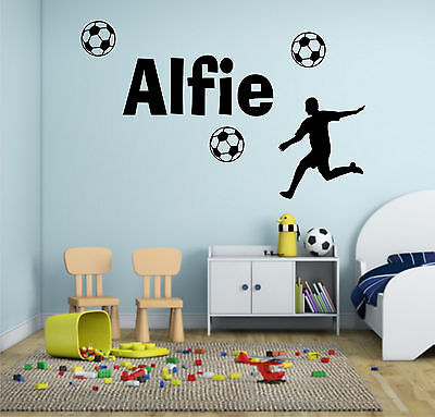 Boys Personalised Name Football Custom Wall Art Sticker Mural Decal Bedroom