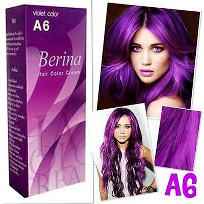1xBERINA A6  PROFESSIONAL PERMANENT HAIR DYE CREAM VIOLET PURPLE COLOR