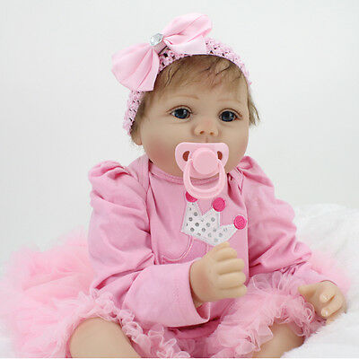 "22"" Lifelike Soft Silicone Sleeping Reborn Baby Doll Playmate Gift Muñecas Toys"