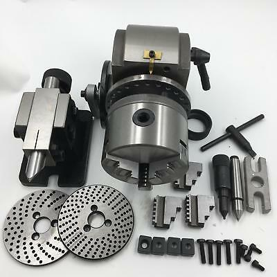 """BS-0 Precision Dividing Head 4"""" 3 Jaw Chuck&Tailstock&Dividing Plate CNC Milling"""