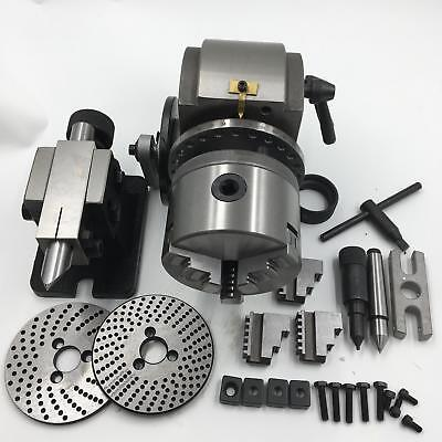 """Dividing Head BS-0 Precision 4"""" 3 Jaw Chuck&Tailstock&Dividing Plate CNC Milling"""