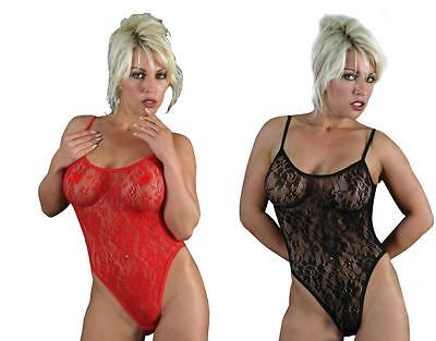 Classified Lace Bodystocking Red or Black  One Size FREE UK P&P