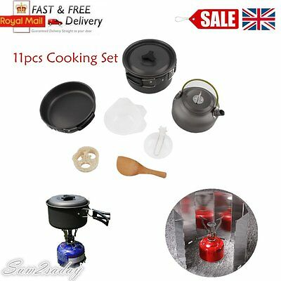 Outdoor Camping Cook Cooking Cookware Set Anodised Aluminium Pots Pans Kettle HT