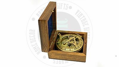 New Vintage Maritime Antique Brass Sundial Compass Nautical Decor Free Postage