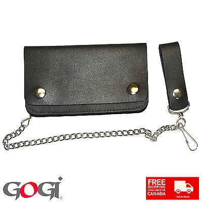 New Gogi Riders Pinup Chain Black Leather Biker Punk Wallet with chain unisex