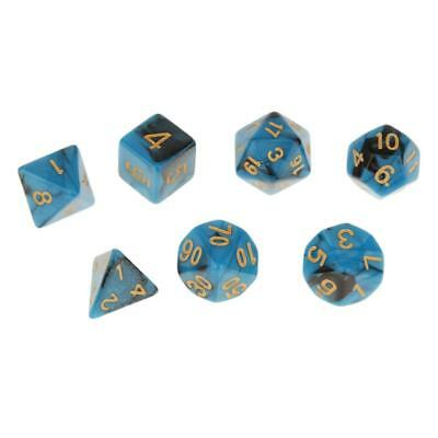 Set of 7 Opaque D4-D20 Multi-sided Dice Dungeons D&D RPG Games Role Play #3