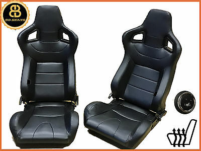 Pair BB6 HEATED Reclining Titling Bucket Sports Racing Seats Black Universal