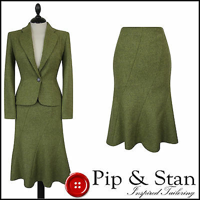 Oasis Uk8 Us4 Green Wool Tweed Skirt Suit 50S Vintage Inspired Women Woman Size