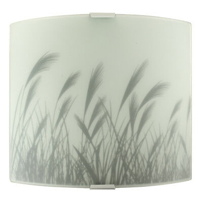 Modern Frosted Glass Summer Meadow Design Flush Wall Sconce Light Fitting Lights