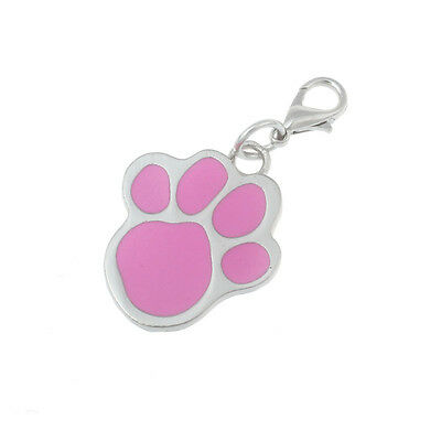 New PINK Dog Cat Pet Paw Print  Pendant Necklace Charm Tag