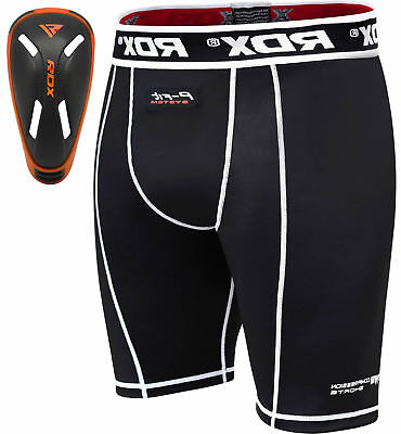 RDX Thermal Compression Flex Shorts & Gel Groin Cup Guard MMA Muay Thai UFC Kick
