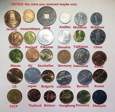 Free Shipping Most country Set of 30 Coins From 30 Different Countries Coins Lot