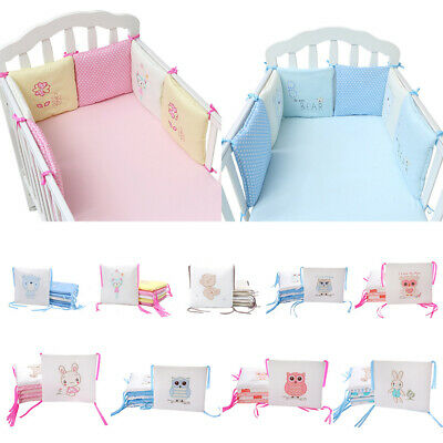 Baby Crib Bumper Breathable Comfy Cotton Infant Toddler Bed Cot Protector 6PCs