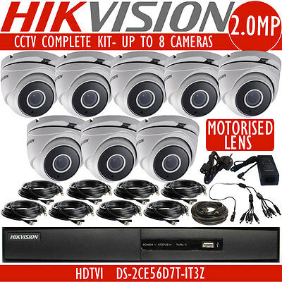 HIKVISION 1080p UP TO 8 MOTORISED LENS CCTV DS-2CE56D7T-IT3Z Camera Security Kit