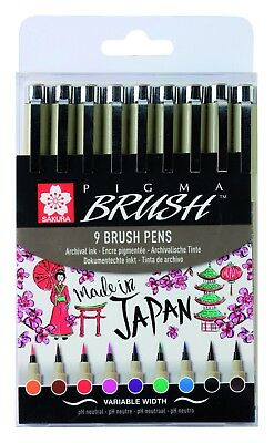 Sakura Pigma Micron Brush Pens Set of 9 Colours - Graphic Artist Pen