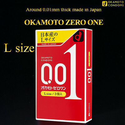 Ultrasensitive Condom Size L Okamoto 001 0.01 Zero One Large Thinnest Extra Thin