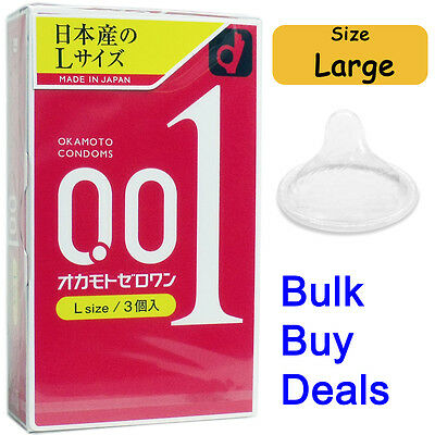 World's Thinnest Japan Condom Okamoto 001 0.01 Zero One Ultra Thin Size Large L