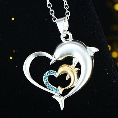 Fashion Silver Crystal Love Heart Jumping Dolphin Pendant Charm Chain Necklace