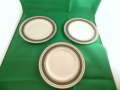Crown Ducal Green Gold Dinner Plates x 3