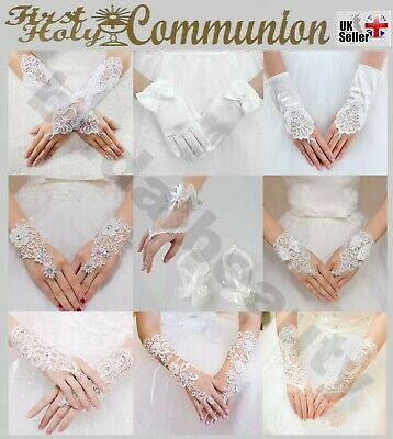 Girls First Holy Communion Baptism Ivory Satin Beaded Pearls Fingerless Gloves