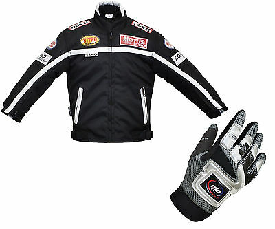 Kids Children's Textile Motorbike Motorcycle Motocross Jacket Gloves Black