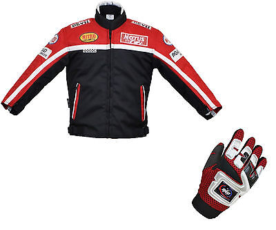 Kids Children's Textile Motorbike Motorcycle Motocross Jacket Gloves Red