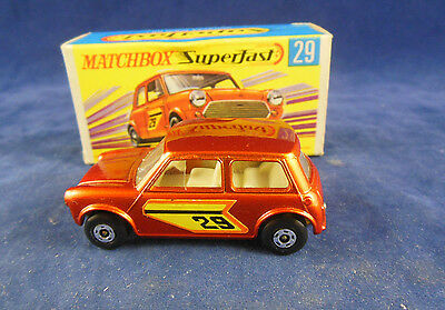Matchbox Superfast MB - 29 B Racing Mini Metallic Bronze Body orange outli No 29