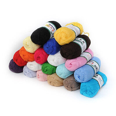 1 Roll Soft Knitting Yarn Smooth Bamboo Cotton Skein 50g Multi Color Hot New