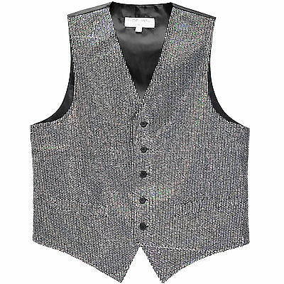 New Men's Tuxedo Vest Waistcoat Only Sequin Silver Wedding Party Prom formal