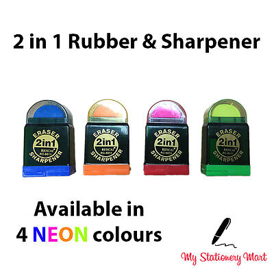 Duo Twin COMBO Pencil Sharpener and Eraser Rubber School Stationery
