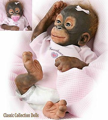 "Ashton Drake ""BABY UMI""-14"" SILICONE BABY ORANGUTAN DOLL-WITH PACI AND NAPPY-NEW"