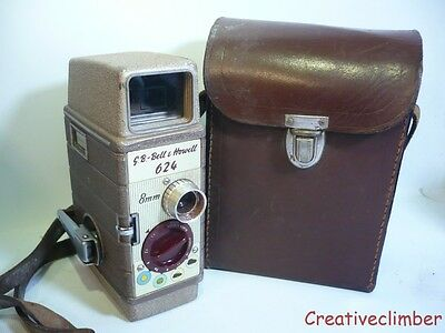 Working Bell & Howell 624 8mm Mechanical Wind Up Movie Cine Camera + Case