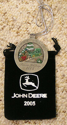 2005 John Deere Pewter Christmas Ornament NEW
